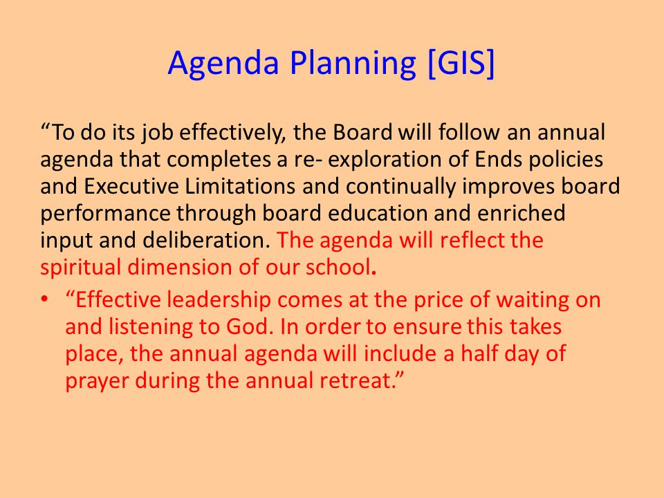 Agenda Planning [GIS]
